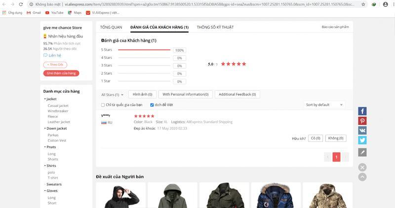 Xem đánh giá của khách hàng trên Aliexpress